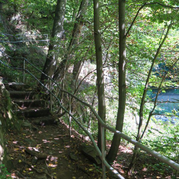 Stufen nach der Rabenauer Mühle, Fahrrad kurz tragen