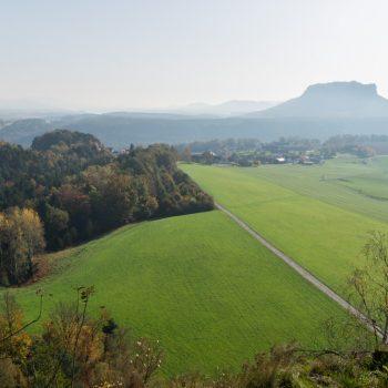 Ausblick vom Rauenstein in Richtung Weißig und Lilienstein