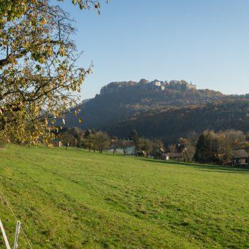 Malerweg nach dem Schloss Thürmsdorf, Blick zur Festung Königstein