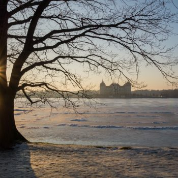 Abendlicht am winterlichen Schlossteich in Moritzburg