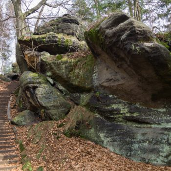 urtümliche Felsen, Aufstieg Schrammsteine