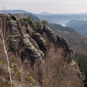 Ausblick von der Schrammsteinaussicht in Richtung Schmilka