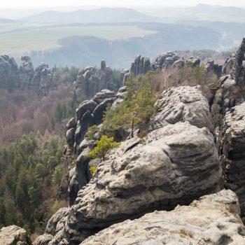 Schrammsteinaussicht, erodierter Sandstein