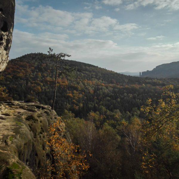 Falkenstein, Felsband nahe der ersten Abseilöse