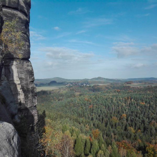 Ausblick beim Klettern am Falkenstein