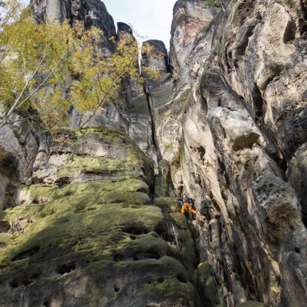Ostflanke des Falkensteins, Klettern am Schusterweg