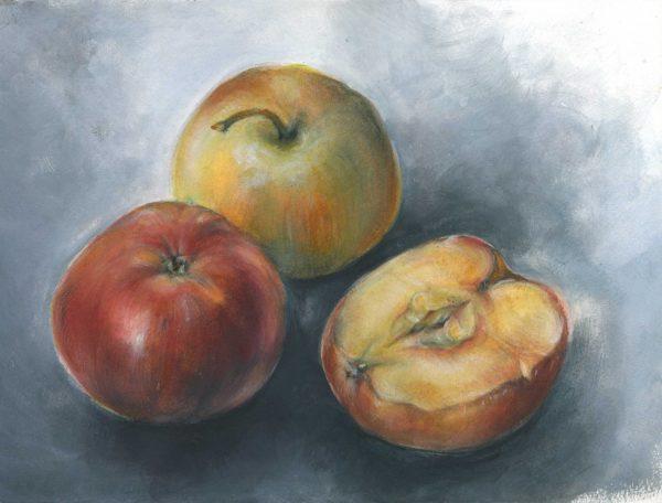 Drei Äpfel | Stillleben | Aquarell- und Acrylfarbe auf Papier | 300 x 230 mm | 2011