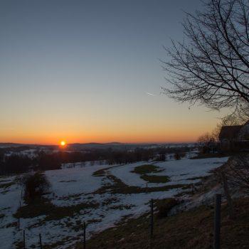 Sonnenuntergang am Fuße der Stadt Stolpen