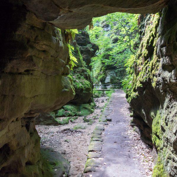 Felsentor im Uttewalder Grund, Standpunkt unter dem Felsblock mit Blick auf den Wanderweg