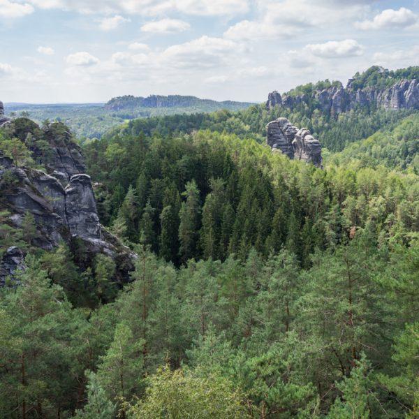 Höhenweg Honigsteine, Blick auf Talwächter und Bastei