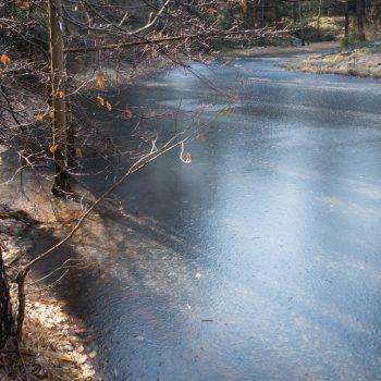 Wanderung auf der Alten Eins, Naturdenkmal Böses Loch im Winter, Dresdner Heide